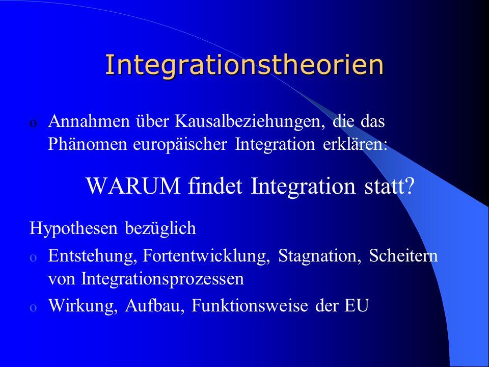 Integrationstheorien o Annahmen über Kausalbeziehungen, die das Phänomen europäischer Integration erklären: WARUM findet Integration statt.