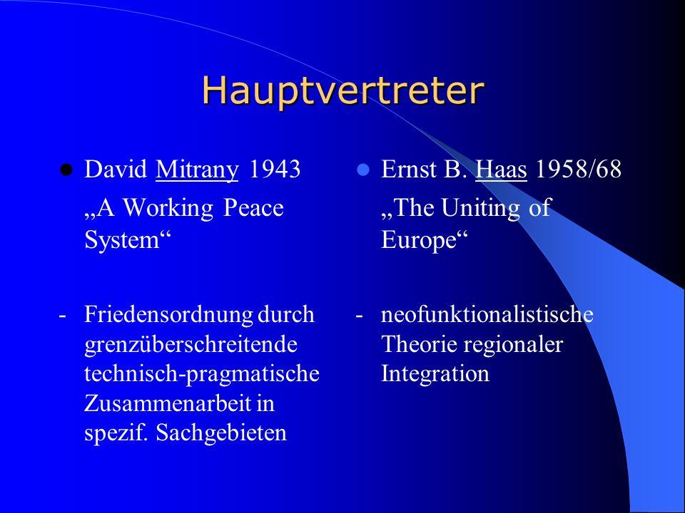 Hauptvertreter David Mitrany 1943 A Working Peace System - Friedensordnung durch grenzüberschreitende technisch-pragmatische Zusammenarbeit in spezif.