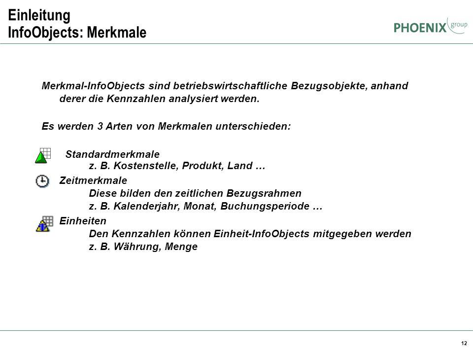 12 Einleitung InfoObjects: Merkmale Merkmal-InfoObjects sind betriebswirtschaftliche Bezugsobjekte, anhand derer die Kennzahlen analysiert werden. Es