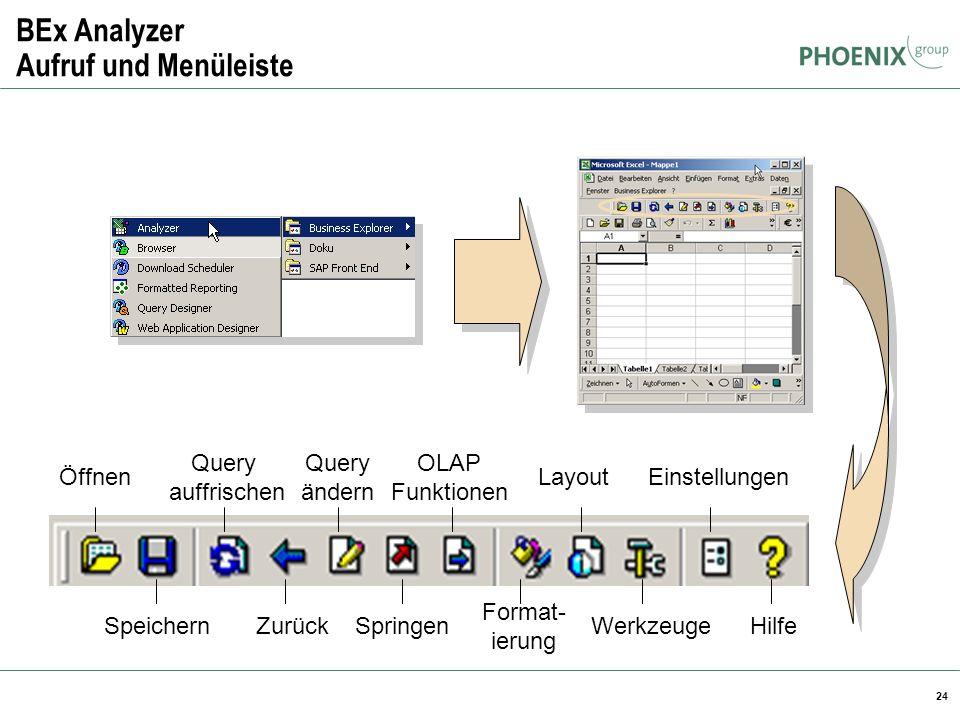 24 BEx Analyzer Aufruf und Menüleiste Öffnen Speichern Query auffrischen Zurück Query ändern Springen OLAP Funktionen Format- ierung Layout Werkzeuge