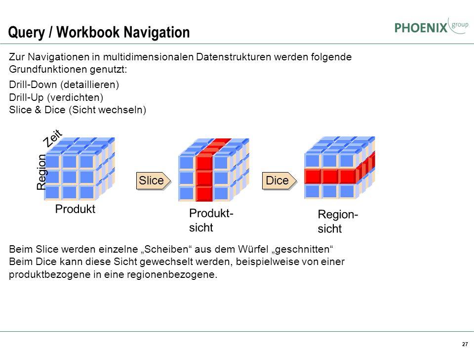 27 Query / Workbook Navigation Zur Navigationen in multidimensionalen Datenstrukturen werden folgende Grundfunktionen genutzt: Drill-Down (detailliere