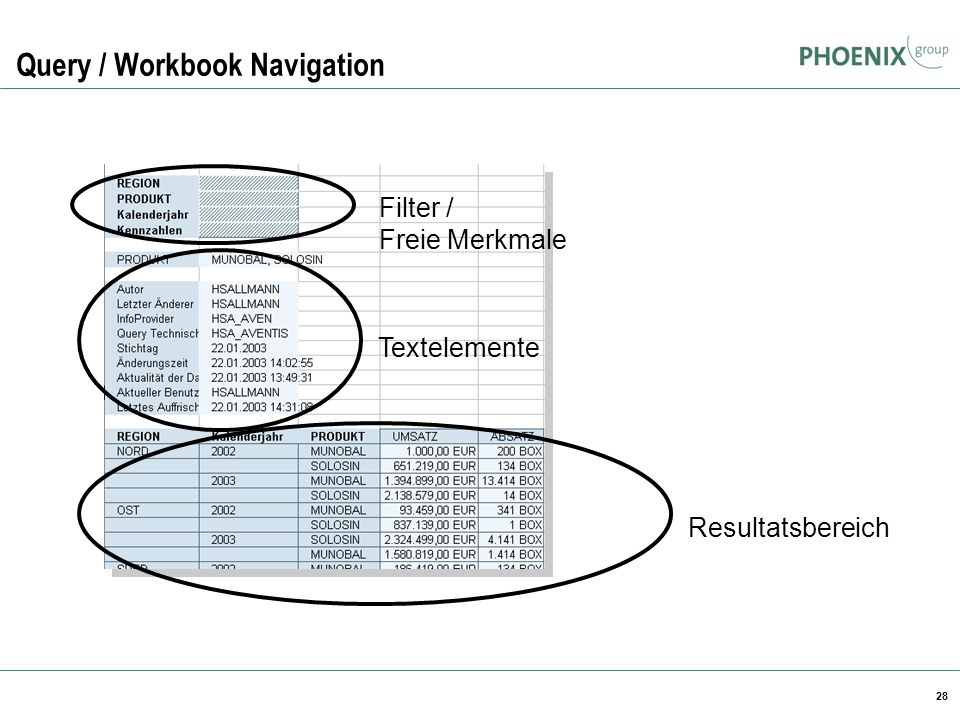 28 Query / Workbook Navigation Filter / Freie Merkmale Textelemente Resultatsbereich