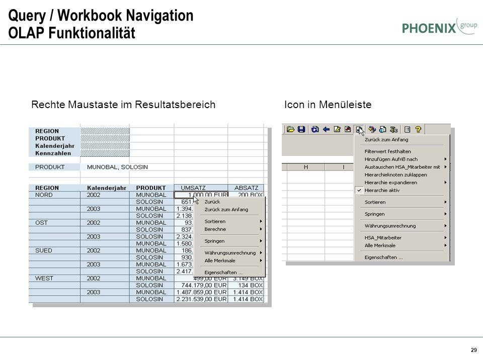 29 Query / Workbook Navigation OLAP Funktionalität Rechte Maustaste im ResultatsbereichIcon in Menüleiste