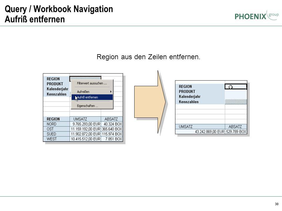 30 Query / Workbook Navigation Aufriß entfernen Region aus den Zeilen entfernen.