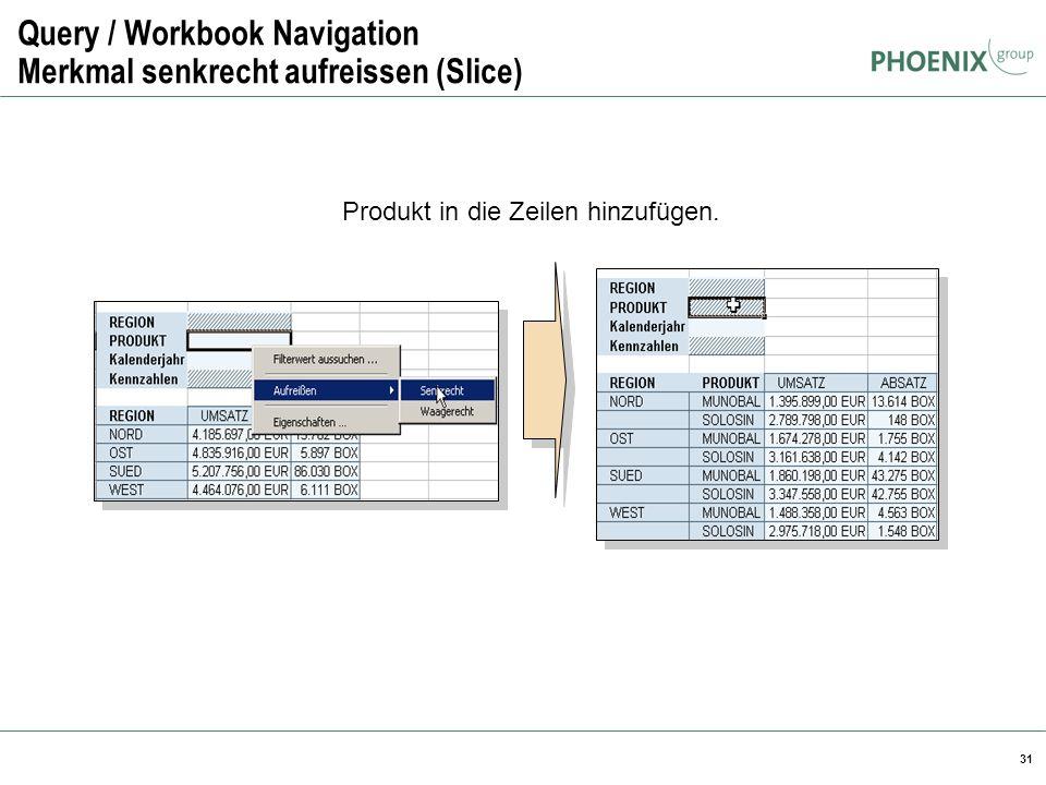31 Query / Workbook Navigation Merkmal senkrecht aufreissen (Slice) Produkt in die Zeilen hinzufügen.