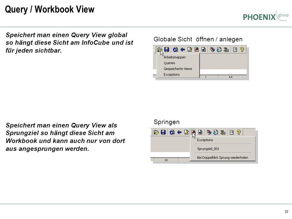37 Query / Workbook View Speichert man einen Query View global so hängt diese Sicht am InfoCube und ist für jeden sichtbar. Speichert man einen Query