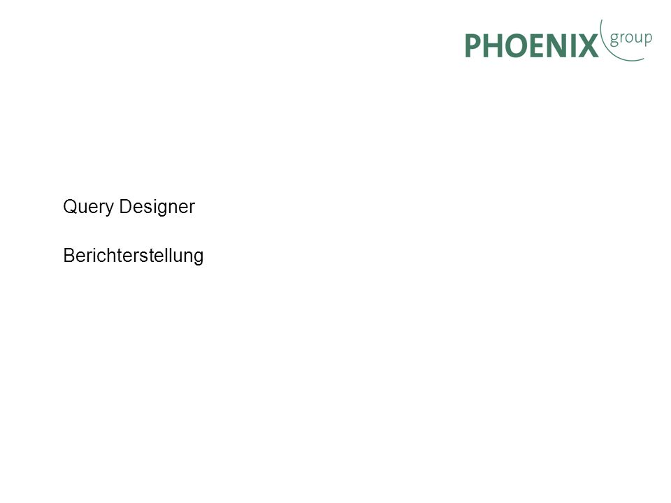 Query Designer Berichterstellung