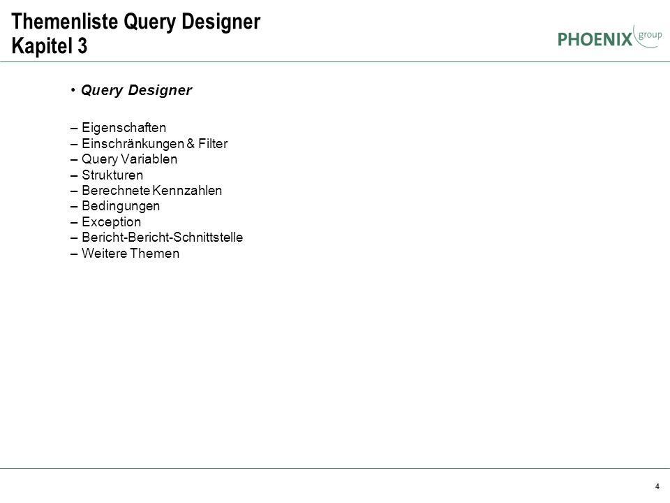 4 Themenliste Query Designer Kapitel 3 Query Designer – Eigenschaften – Einschränkungen & Filter – Query Variablen – Strukturen – Berechnete Kennzahle