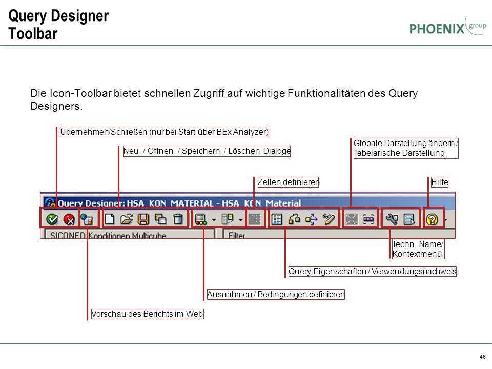 46 Query Designer Toolbar Die Icon-Toolbar bietet schnellen Zugriff auf wichtige Funktionalitäten des Query Designers. Übernehmen/Schließen (nur bei S
