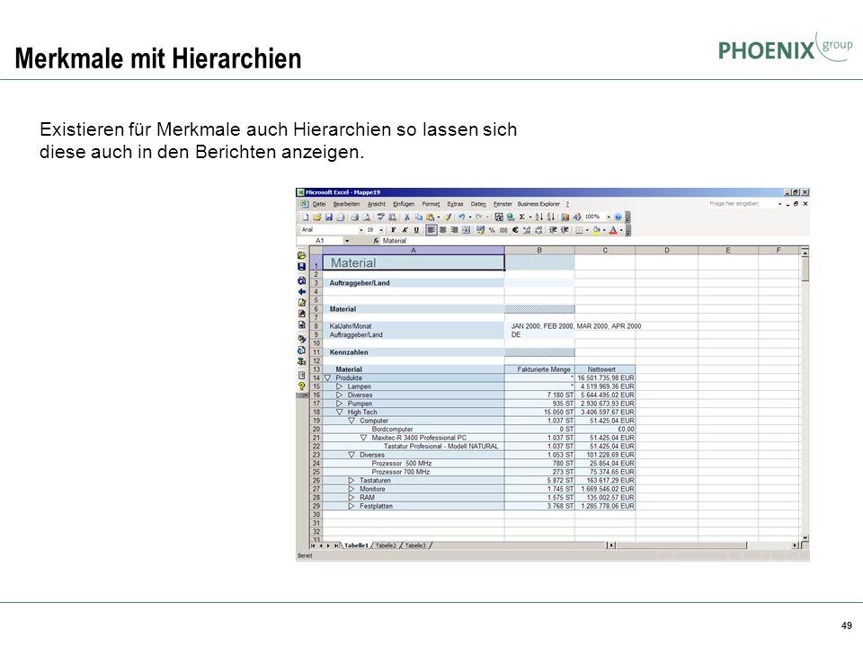 49 Merkmale mit Hierarchien Existieren für Merkmale auch Hierarchien so lassen sich diese auch in den Berichten anzeigen.