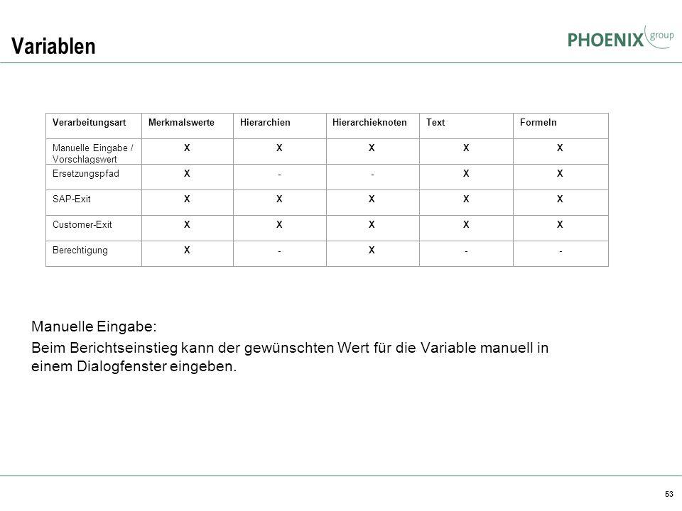 53 Variablen Manuelle Eingabe: Beim Berichtseinstieg kann der gewünschten Wert für die Variable manuell in einem Dialogfenster eingeben. Verarbeitungs