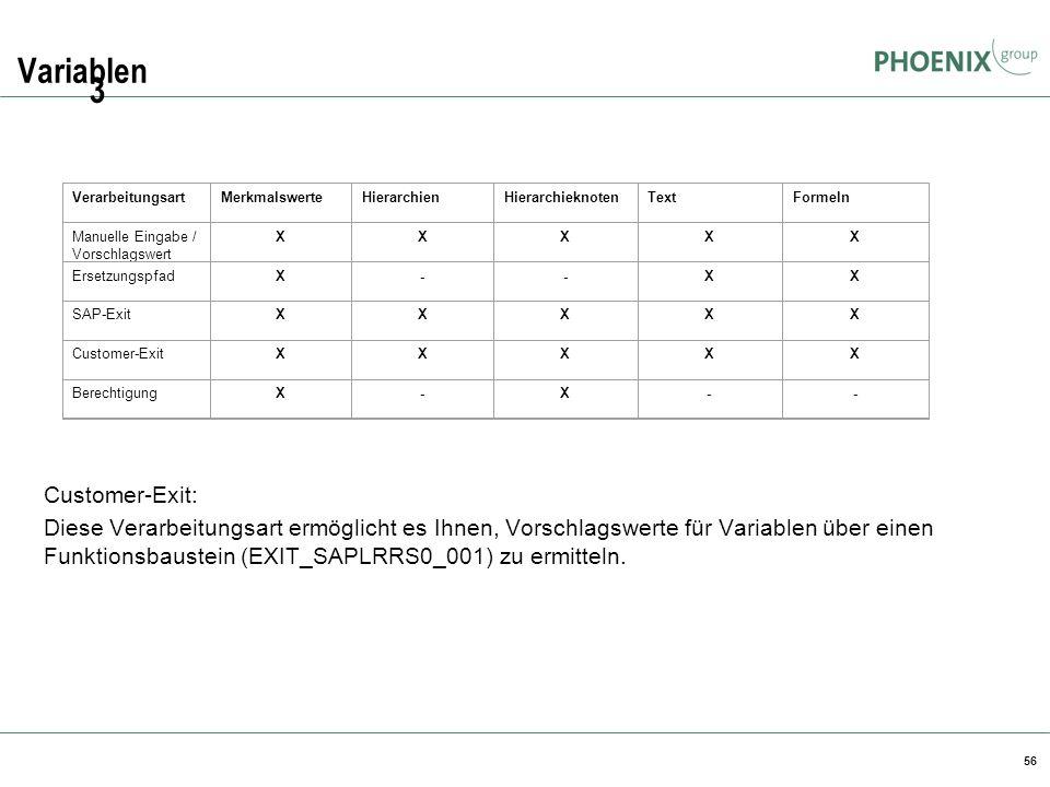 56 Variablen Customer-Exit: Diese Verarbeitungsart ermöglicht es Ihnen, Vorschlagswerte für Variablen über einen Funktionsbaustein (EXIT_SAPLRRS0_001)