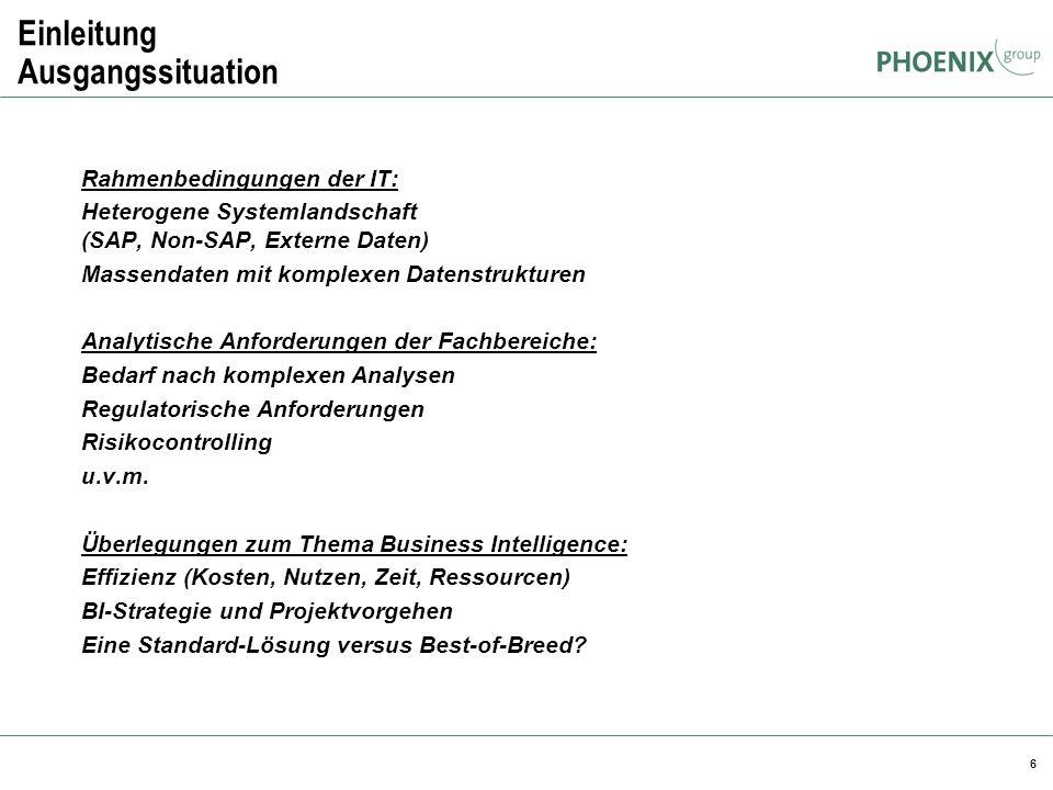 6 Einleitung Ausgangssituation Rahmenbedingungen der IT: Heterogene Systemlandschaft (SAP, Non-SAP, Externe Daten) Massendaten mit komplexen Datenstru