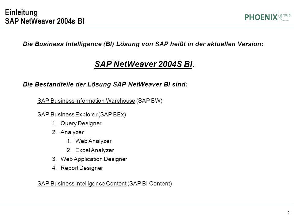 9 Einleitung SAP NetWeaver 2004s BI Die Business Intelligence (BI) Lösung von SAP heißt in der aktuellen Version: SAP NetWeaver 2004S BI. Die Bestandt