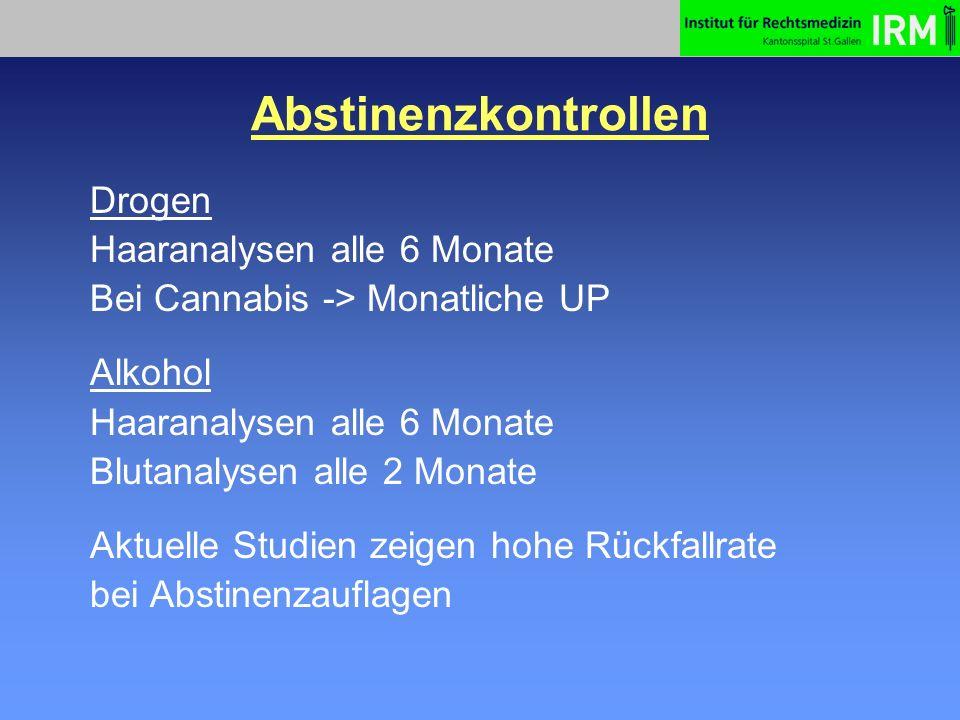 Abstinenzkontrollen (Haare) Vorteile Vereinfachung der Kontrollen Entlastung Hausarzt Direkter Substanznachweis div.
