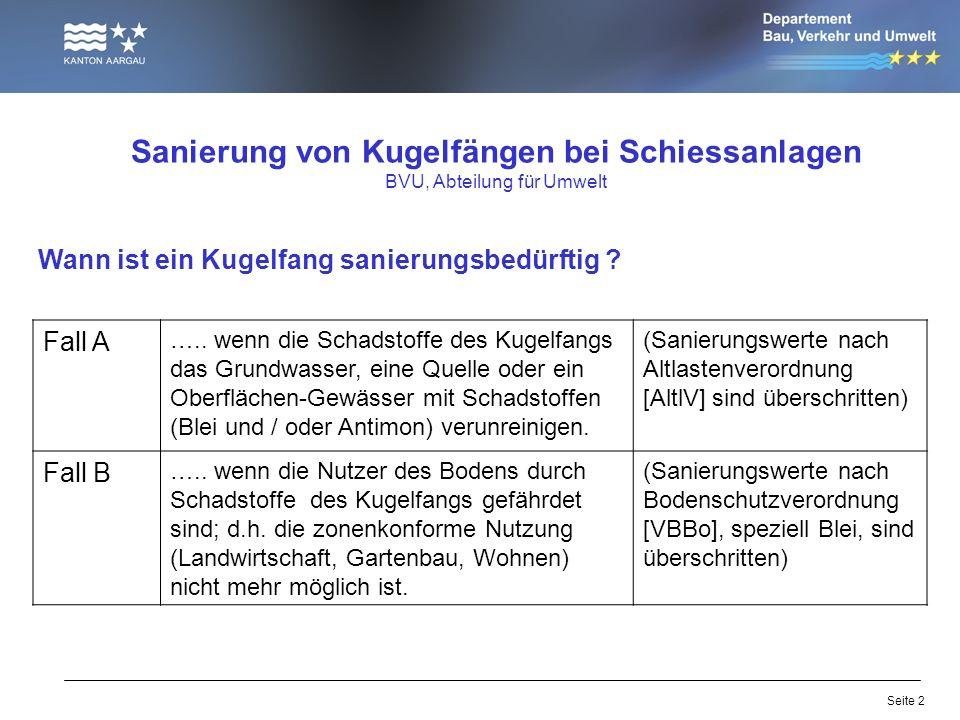 Seite 2 Sanierung von Kugelfängen bei Schiessanlagen BVU, Abteilung für Umwelt Wann ist ein Kugelfang sanierungsbedürftig ? Fall A ….. wenn die Schads