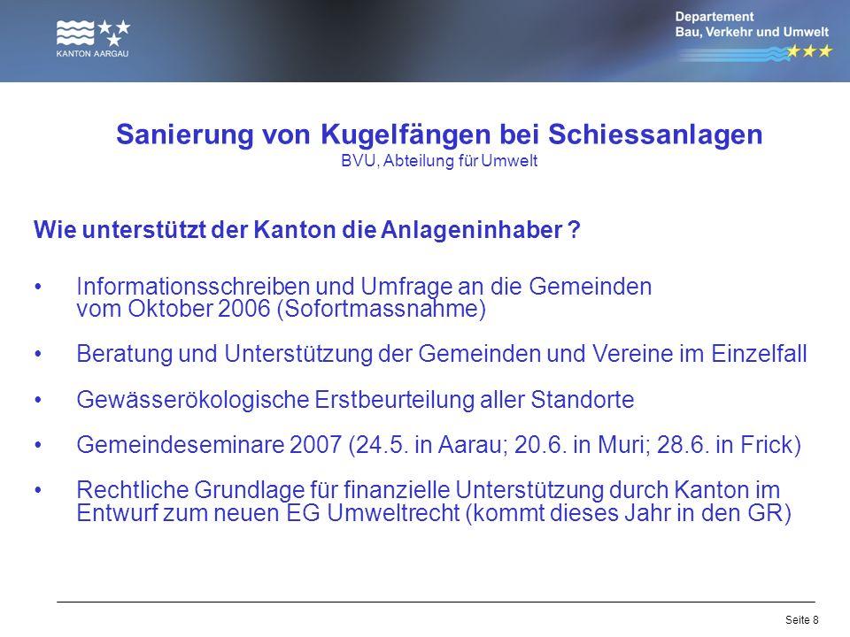 Seite 8 Sanierung von Kugelfängen bei Schiessanlagen BVU, Abteilung für Umwelt Wie unterstützt der Kanton die Anlageninhaber ? Informationsschreiben u