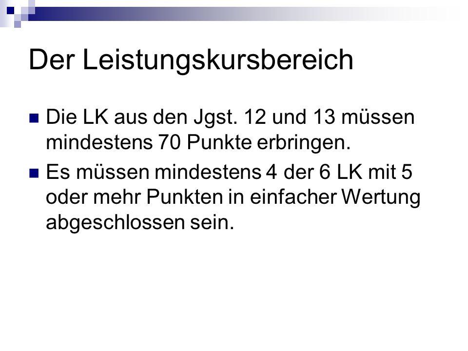 Der Leistungskursbereich Die LK aus den Jgst.12 und 13 müssen mindestens 70 Punkte erbringen.