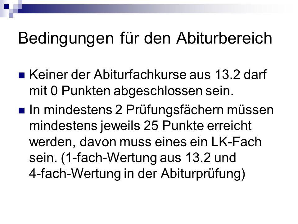 Bedingungen für den Abiturbereich Keiner der Abiturfachkurse aus 13.2 darf mit 0 Punkten abgeschlossen sein.