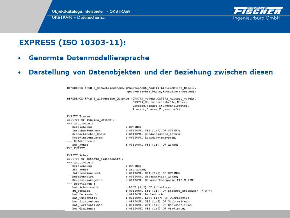 EXPRESS (ISO 10303-11): Objektkataloge, Beispiele - OKSTRA® OKSTRA® - Datenschema Genormte Datenmodelliersprache Darstellung von Datenobjekten und der