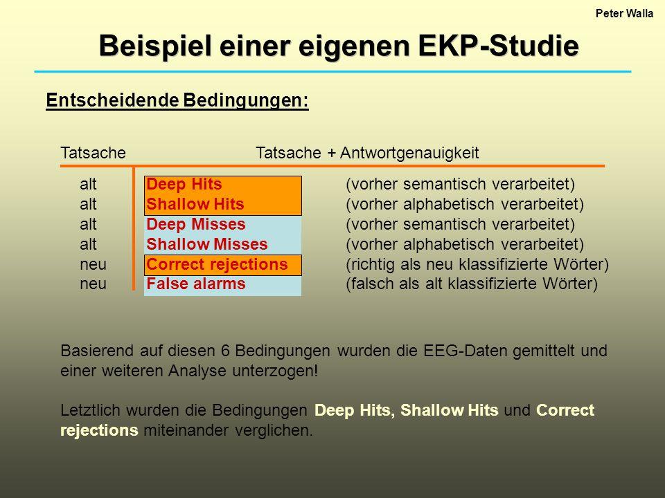Peter Walla Basierend auf diesen 6 Bedingungen wurden die EEG-Daten gemittelt und einer weiteren Analyse unterzogen! Letztlich wurden die Bedingungen