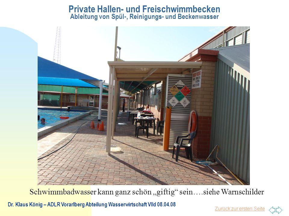 Zurück zur ersten Seite Private Hallen- und Freischwimmbecken Ableitung von Spül-, Reinigungs- und Beckenwasser Dr.
