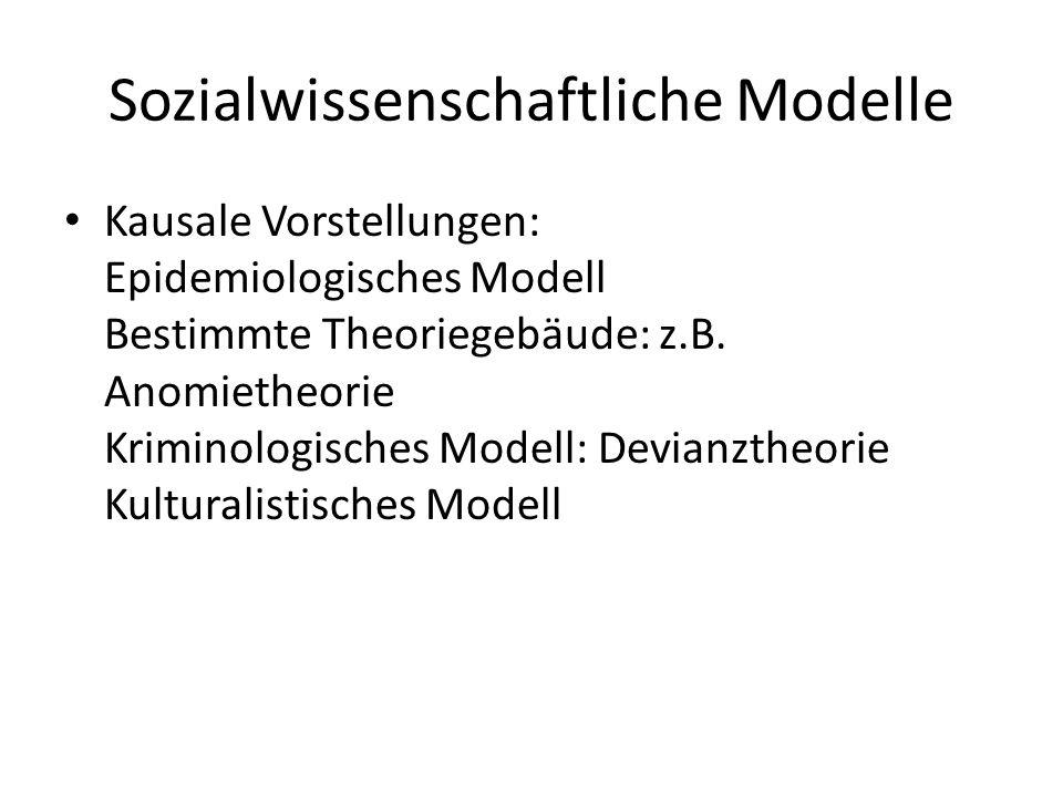 Sozialwissenschaftliche Modelle Kausale Vorstellungen: Epidemiologisches Modell Bestimmte Theoriegebäude: z.B. Anomietheorie Kriminologisches Modell: