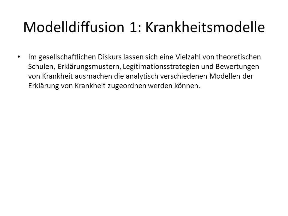 Modelldiffusion 1: Krankheitsmodelle Im gesellschaftlichen Diskurs lassen sich eine Vielzahl von theoretischen Schulen, Erklärungsmustern, Legitimatio