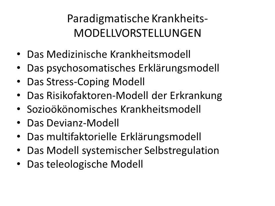 Paradigmatische Krankheits- MODELLVORSTELLUNGEN Das Medizinische Krankheitsmodell Das psychosomatisches Erklärungsmodell Das Stress-Coping Modell Das
