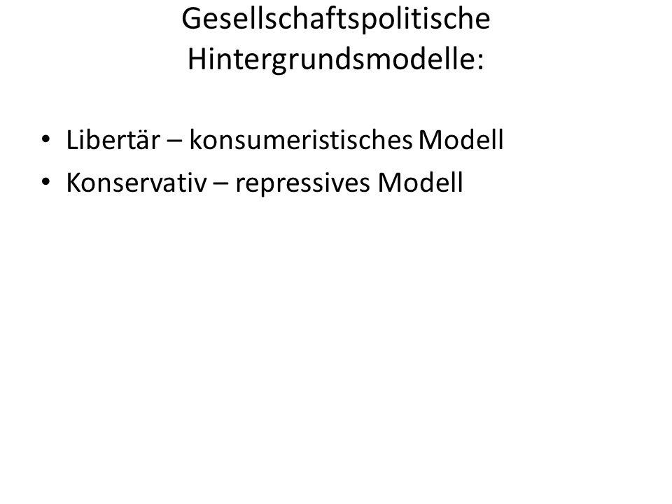 Gesellschaftspolitische Hintergrundsmodelle: Libertär – konsumeristisches Modell Konservativ – repressives Modell