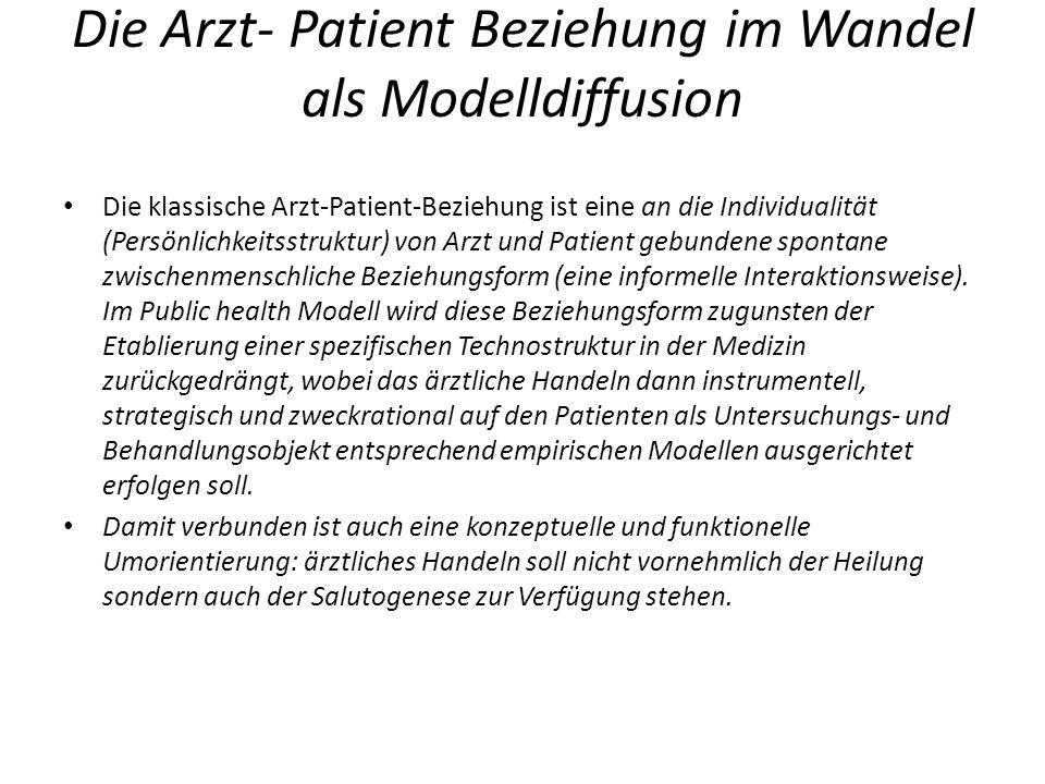 Die Arzt- Patient Beziehung im Wandel als Modelldiffusion Die klassische Arzt-Patient-Beziehung ist eine an die Individualität (Persönlichkeitsstruktu