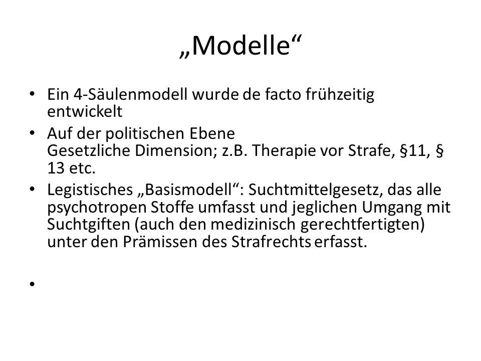 Modelle Ein 4-Säulenmodell wurde de facto frühzeitig entwickelt Auf der politischen Ebene Gesetzliche Dimension; z.B. Therapie vor Strafe, §11, § 13 e