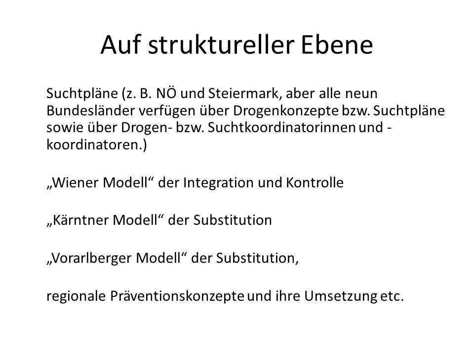 Auf struktureller Ebene Suchtpläne (z. B. NÖ und Steiermark, aber alle neun Bundesländer verfügen über Drogenkonzepte bzw. Suchtpläne sowie über Droge