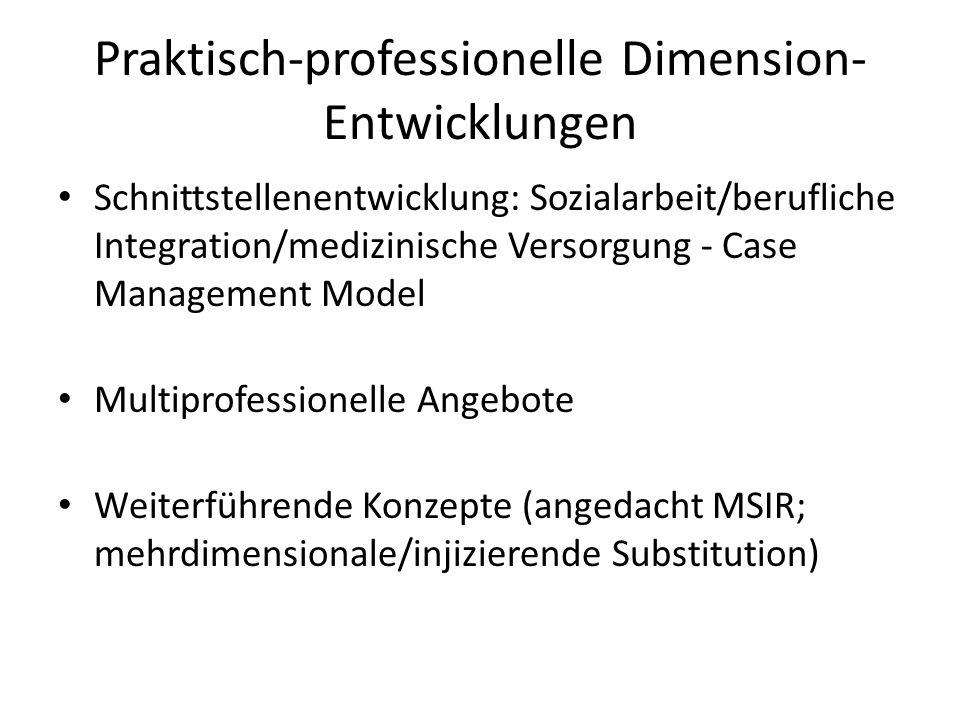 Praktisch-professionelle Dimension- Entwicklungen Schnittstellenentwicklung: Sozialarbeit/berufliche Integration/medizinische Versorgung - Case Manage