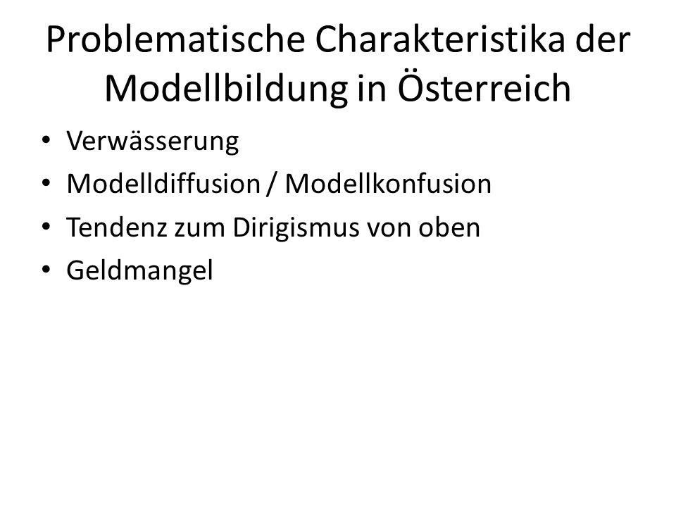 Problematische Charakteristika der Modellbildung in Österreich Verwässerung Modelldiffusion / Modellkonfusion Tendenz zum Dirigismus von oben Geldmang