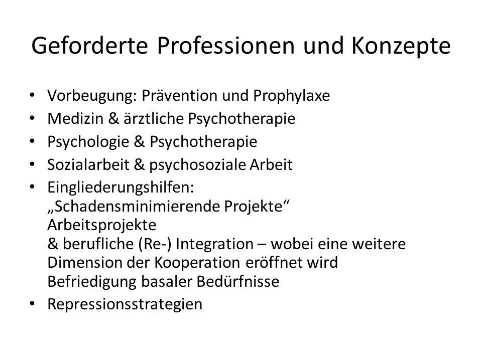 Geforderte Professionen und Konzepte Vorbeugung: Prävention und Prophylaxe Medizin & ärztliche Psychotherapie Psychologie & Psychotherapie Sozialarbei