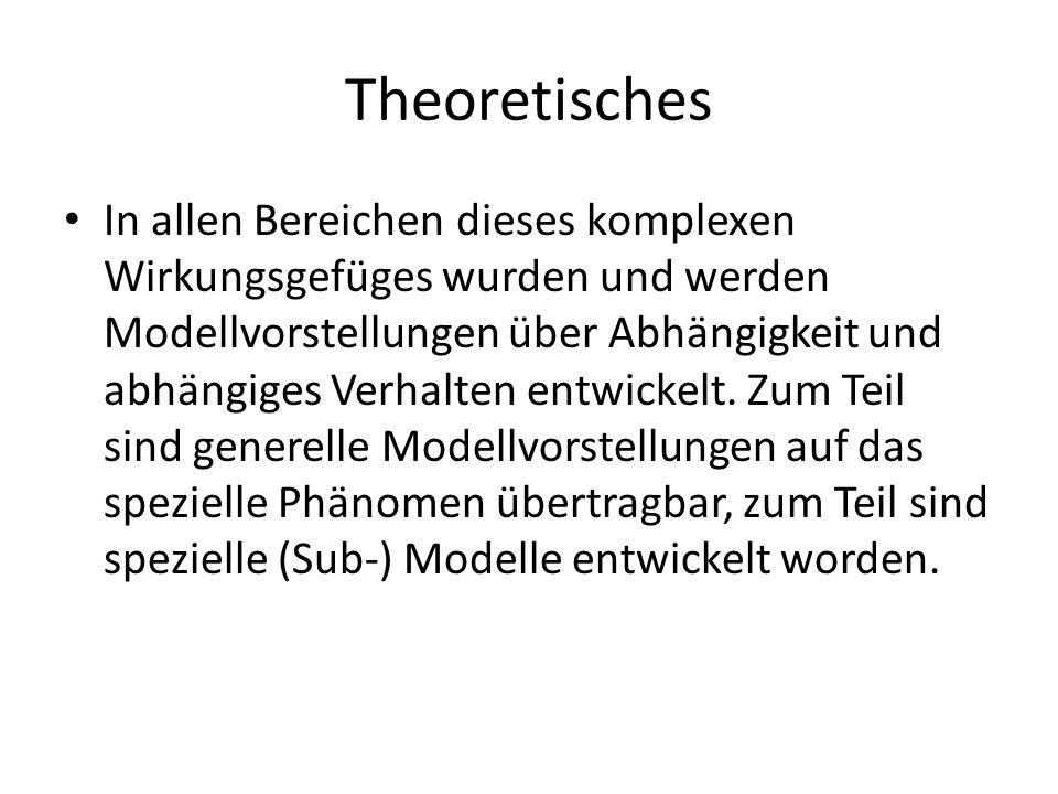 Theoretisches In allen Bereichen dieses komplexen Wirkungsgefüges wurden und werden Modellvorstellungen über Abhängigkeit und abhängiges Verhalten ent