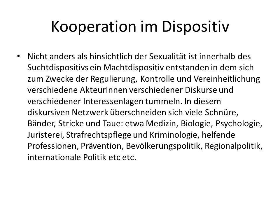 Kooperation im Dispositiv Nicht anders als hinsichtlich der Sexualität ist innerhalb des Suchtdispositivs ein Machtdispositiv entstanden in dem sich z