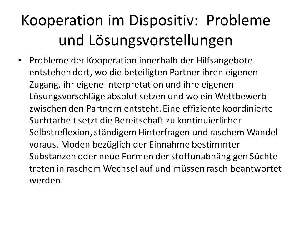 Kooperation im Dispositiv: Probleme und Lösungsvorstellungen Probleme der Kooperation innerhalb der Hilfsangebote entstehen dort, wo die beteiligten P