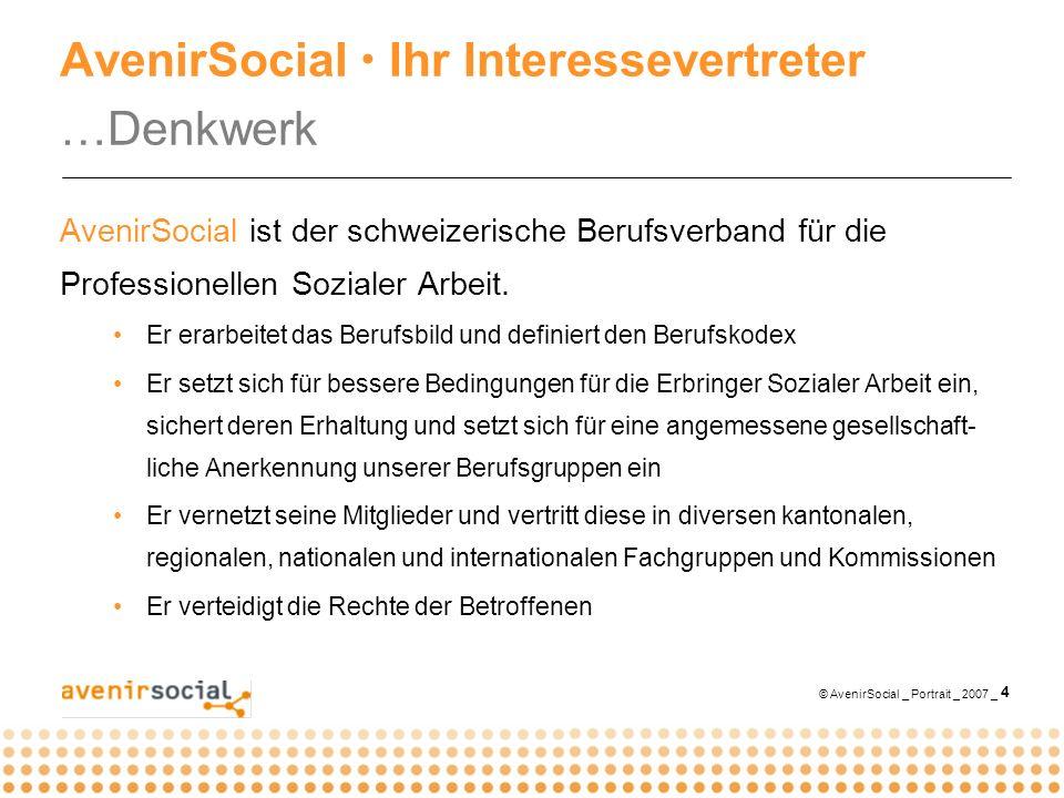 © AvenirSocial _ Portrait _ 2007 _ 4 AvenirSocial Ihr Interessevertreter …Denkwerk AvenirSocial ist der schweizerische Berufsverband für die Professionellen Sozialer Arbeit.