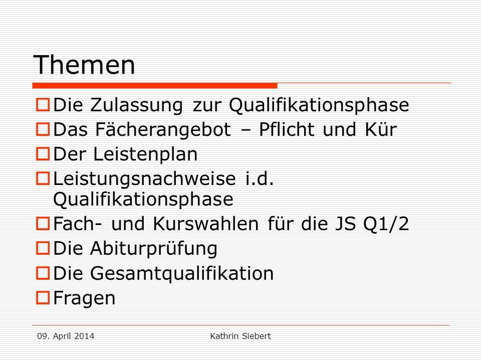 Kathrin Siebert Themen Die Zulassung zur Qualifikationsphase Das Fächerangebot – Pflicht und Kür Der Leistenplan Leistungsnachweise i.d.