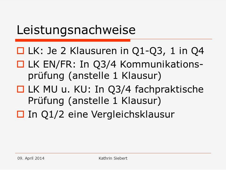 09. April 2014Kathrin Siebert Leistungsnachweise LK: Je 2 Klausuren in Q1-Q3, 1 in Q4 LK EN/FR: In Q3/4 Kommunikations- prüfung (anstelle 1 Klausur) L