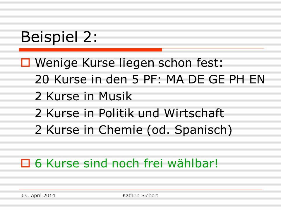09. April 2014Kathrin Siebert Beispiel 2: Wenige Kurse liegen schon fest: 20 Kurse in den 5 PF: MA DE GE PH EN 2 Kurse in Musik 2 Kurse in Politik und