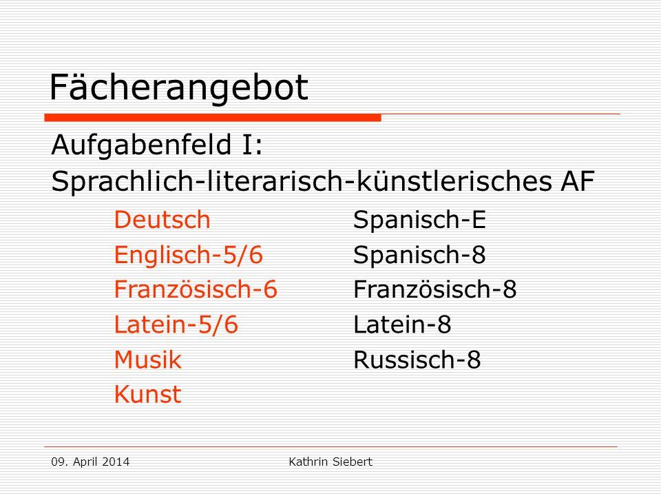 09. April 2014Kathrin Siebert Fächerangebot Aufgabenfeld I: Sprachlich-literarisch-künstlerisches AF DeutschSpanisch-E Englisch-5/6 Französisch-6 Span