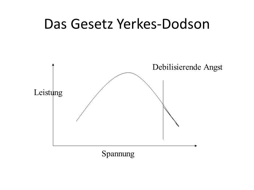 Das Gesetz Yerkes-Dodson Leistung Spannung Debilisierende Angst