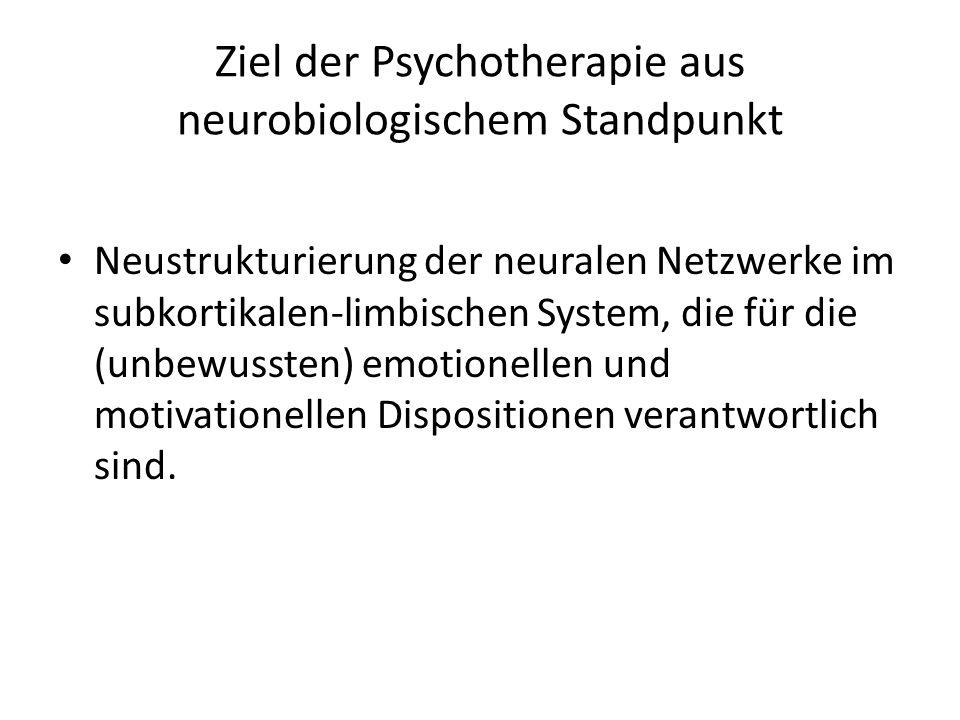 Ziel der Psychotherapie aus neurobiologischem Standpunkt Neustrukturierung der neuralen Netzwerke im subkortikalen-limbischen System, die für die (unb