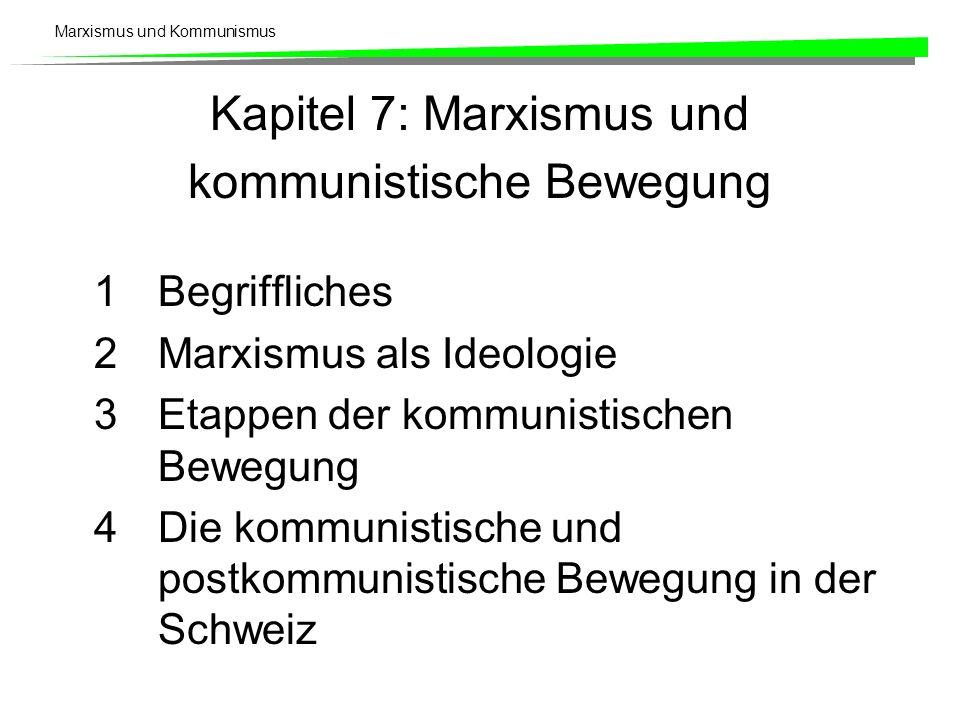 Marxismus und Kommunismus Kapitel 7: Marxismus und kommunistische Bewegung 1Begriffliches 2Marxismus als Ideologie 3Etappen der kommunistischen Bewegung 4Die kommunistische und postkommunistische Bewegung in der Schweiz