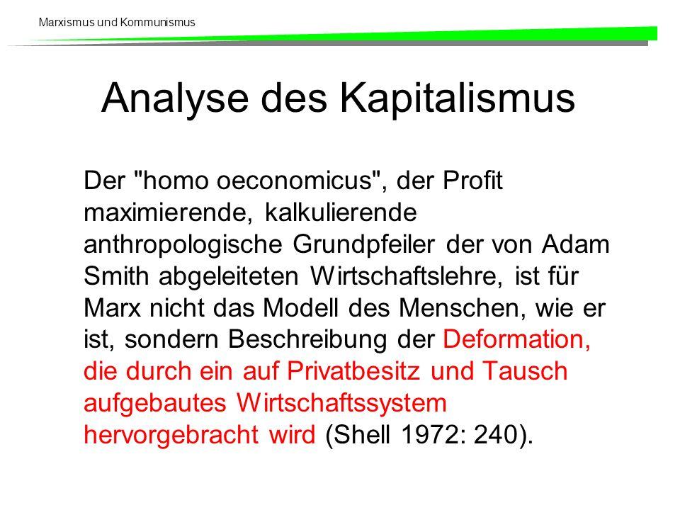 Marxismus und Kommunismus Analyse des Kapitalismus Der homo oeconomicus , der Profit maximierende, kalkulierende anthropologische Grundpfeiler der von Adam Smith abgeleiteten Wirtschaftslehre, ist für Marx nicht das Modell des Menschen, wie er ist, sondern Beschreibung der Deformation, die durch ein auf Privatbesitz und Tausch aufgebautes Wirtschaftssystem hervorgebracht wird (Shell 1972: 240).