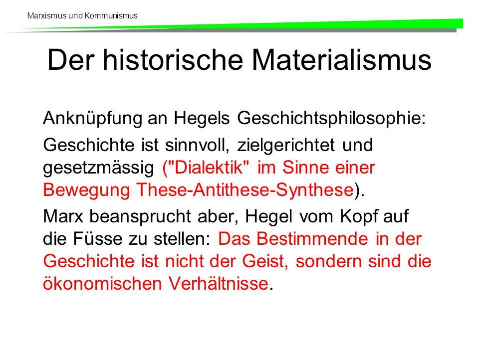 Marxismus und Kommunismus Der historische Materialismus Anknüpfung an Hegels Geschichtsphilosophie: Geschichte ist sinnvoll, zielgerichtet und gesetzmässig ( Dialektik im Sinne einer Bewegung These-Antithese-Synthese).