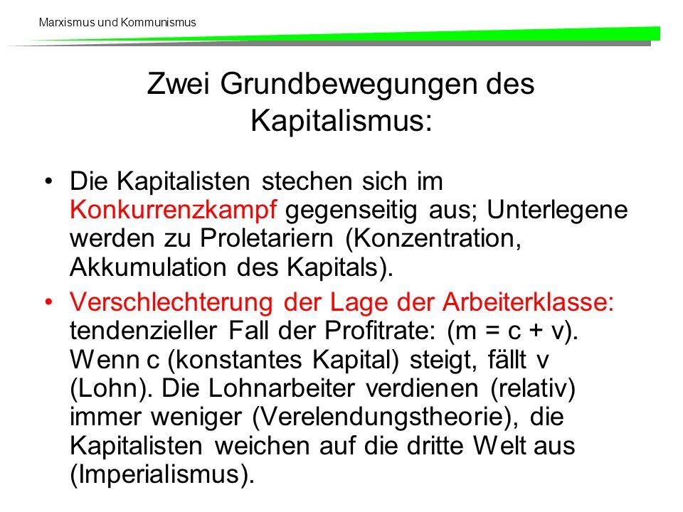 Marxismus und Kommunismus Zwei Grundbewegungen des Kapitalismus: Die Kapitalisten stechen sich im Konkurrenzkampf gegenseitig aus; Unterlegene werden zu Proletariern (Konzentration, Akkumulation des Kapitals).